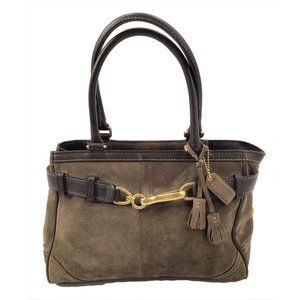 Coach Satchel Handbag Green Suede Leather